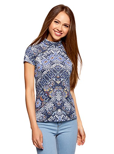 oodji Collection Damen Kurzarm-Shirt mit Stehkragen, Blau, DE 32 / EU 34 / XXS - Teenager Günstige T-shirts