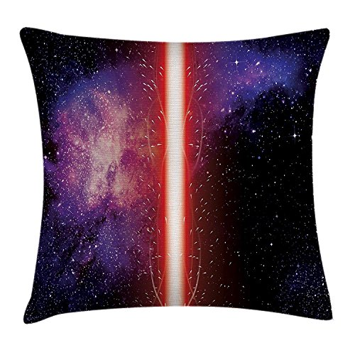 Cushion Cover, Famous Movie Prop Fantastic Galaxy Theme Between Enemies Theme Stripe Illustration in Red, Decorative Square Accent Pillow Case, 18 X18 Inches, Black ()