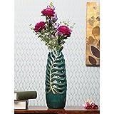 @home by Nilkamal Wild Flower Tall Cutwork Vase, Emerald