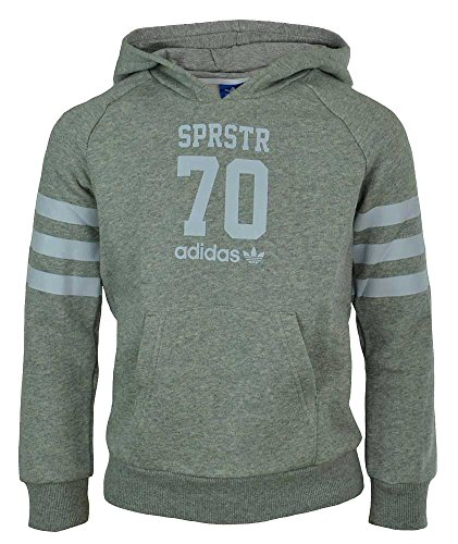 adidas J Le Hoodie Sweatshirt für Jungen, Kinder, J LE Hoodie, grau/weiß, 98