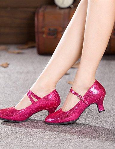 ShangYi Chaussures de danse (Noir/Bleu/Rose/Gris) - Non personnalisable - Talon Large - Paillette - Moderne fuchsia