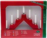 Konstsmide 1041-510 / Candeliere in legno con anelli decorativi in metallo laccato rosso / 7 lampadine trasparenti / 230V interno / cavo bianco