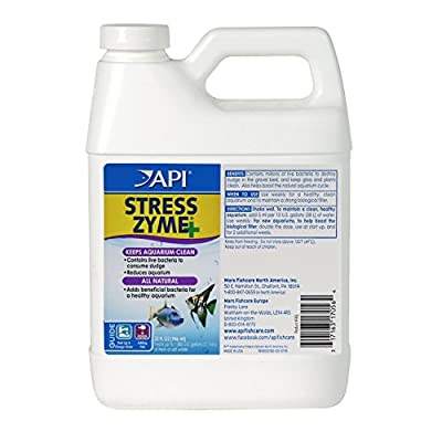 API Stress Zyme Freshwater And Saltwater Aquarium Cleaning Solution Bottle, White