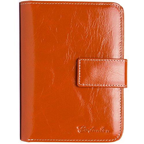 BOSTANTEN Femme en Cuir Carte véritable Porte-monnaie à bouton Card Orange