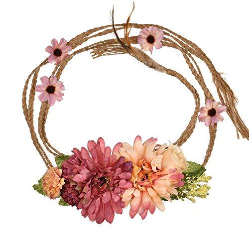 YAZILIND Bohemia Estilo Flor Pretina Floral Garland Playa Faja Foto apoyos (Claret)