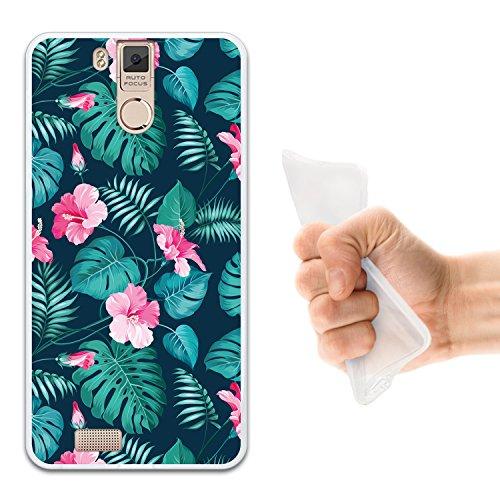 WoowCase Oukitel K6000 Pro Hülle, Handyhülle Silikon für [ Oukitel K6000 Pro ] Tropische Blumen 2 Handytasche Handy Cover Case Schutzhülle Flexible TPU - Transparent