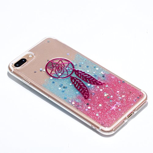 Custodia per Apple iPhone 7 Plus / iPhone 8 Plus 5.5 Torretta di Trasmissione - Bling Girlyard Glitter Brillantini in TPU Sottile Morbido Colorate Silicone Trasparente Slim Case Cover Gel Antiurto El Rosa Campanula