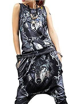 ELLAZHU Women Slim Hippie Personality Black Wolf Printing Tank Top Onesize GK75