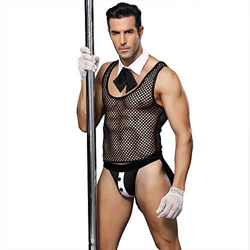 PsetYsail Sexy Unterwäsche, Sexy Perspektive Männlicher Diener Sexy Dessous Nachtclub Bar Kellner Männliches Dienstmädchen Kostüm Sexy Uniform (Männliche Dienstmädchen Kostüm)