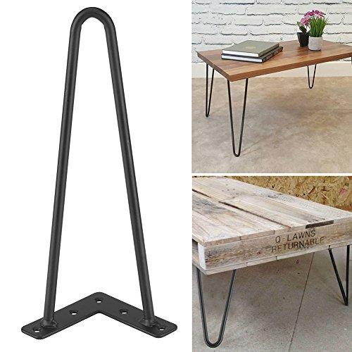 Haarnadel Tischbeine 4 Ruten 12 Zoll Höhe Modern Style Metal Schreibtisch Beine Pulver beschichtet Schwarz (12 Zoll (30 cm))