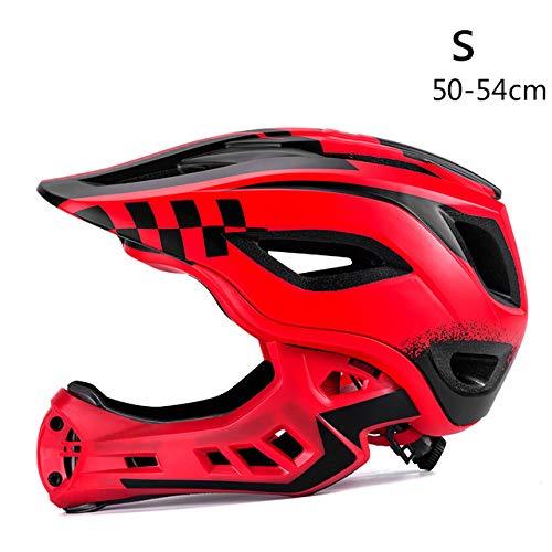 Casco integrale da bicicletta Casco integrale coperto Casco da bambino EPS Parallelo da auto per bambini Casco sportivo da equitazione Red S bike helmet