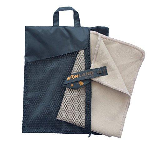 Sunland Extra Leicht und Kompakt Schnelltrocknendes Saugfähiges Mikrofaser Reisehandtuch Sporthandtuch Fitnesshandtuch Badetuch Saunatuch Handtüch (Sand, 60cmx120cm)