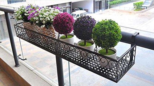 JAZS® Porte-fleurs, suspension de fer à repasser Étagère à fleurs Clôture Balcon à multifonction Porte-pot à fleurs noir 50 × 20 × 12 cm Largeur de barre 4cm protection de l'environnement raffinée ( taille : 80*25*12cm )