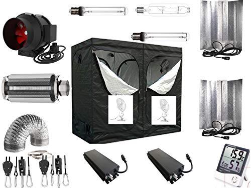 Generic Growbox Komplettset Pro 2 x 600 W dimmbar NDL 240x120x200 cm AKF 930m³/h(2 x 660 Watt mit AKF)