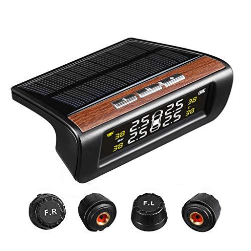 VETOMILE TPMS Sistema Monitore Pressione Pneumatico Senza Fili a USB ed Energia Solare, con 4 Sensori Esterni Rilevamento in Tempo Reale, LCD Display 26.4-63 PSI 1.8-4.3 Bar, Nero
