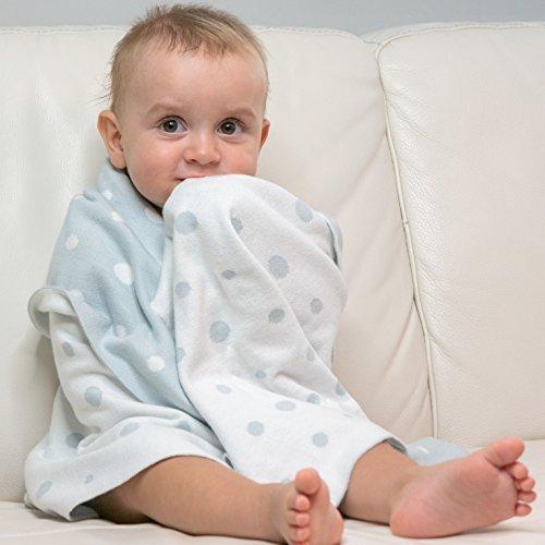 Preisvergleich Produktbild Babydecke aus Bio Baumwolle. Grau / Weiß Doppelseitig, Strick, 80 x 100 cm. Sommer Erstlingsdecke für Mädchen und Jungen. Kinderwagen Baby Decke aus 100% Organic cotton.