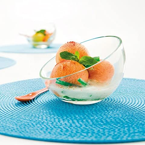 Unusual Contemporary Asymmetrical Curved Glass Sorbet Dishes - Perfect For Serving Tasty Summer Treats - H9 x ⌀12cm 13cl (6) by Dibor - French Style Accessories for the Home