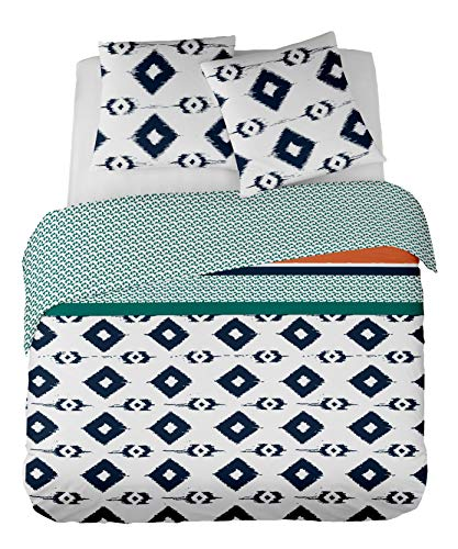 DORAN SOU Geneva design Suave - Soldes D'Hiver - Parure de lit pour 1 ou 2 Personnes : Housse de Couette 200x210 cm + Taies d'oreiller 65x65 cm