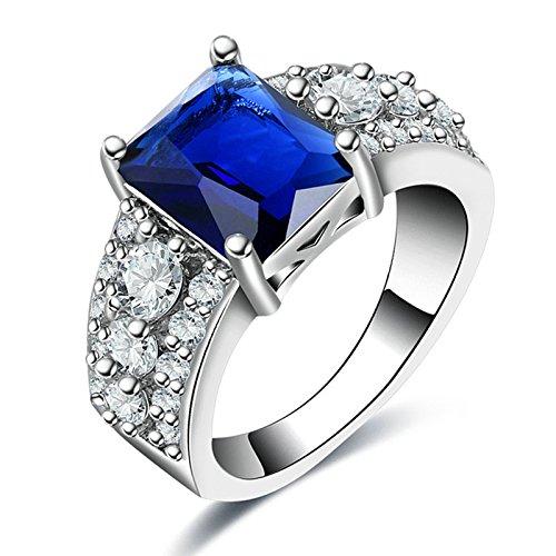 SonMo Kupfer Ring Damen Breit Blau Rechteck Stein Diamant Ringe fur Damen Ring fur Damen Blau Größe: 60 (19.1)