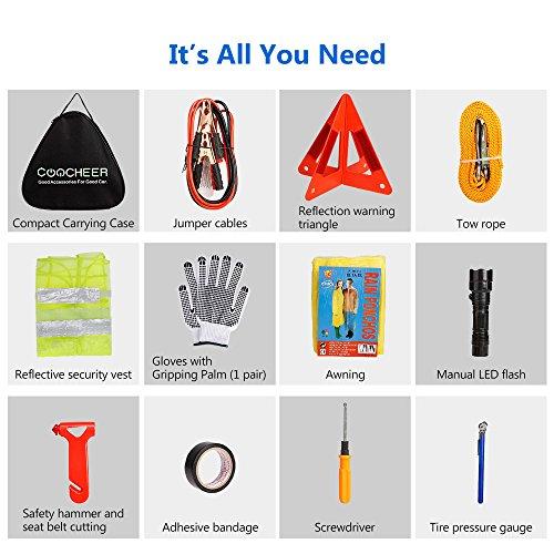 SAILNOVO Kits d'Urgence Voiture Kit De Secour Auto Multifonctionnel 24 en 1, Triangle de Signalisation, Gilet jaune réfléchissant, Câble de Démarrage, Corde de Remorquage, Lampe de Poche Etc (noir, 24 en 1)