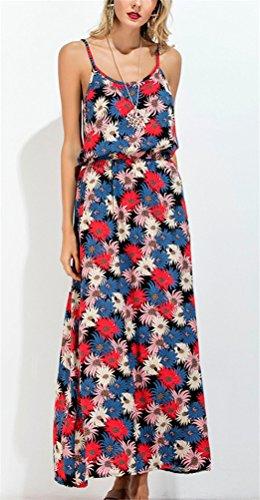 Ghope Damen Modern Boho Blumen Muster Lange Kleid Schleuder Sommer Urlaub Strandkleider Rot