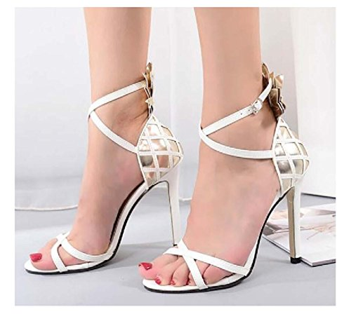 NobS Femmes Sandales à talons hauts Femmes Talons hauts Sandales Open Toe Hollow Cross Belt Casual Shoes White
