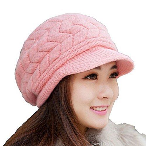 LEORX Cálido invierno de punto sombrero de vendedor de periódicos gorro nieve esquí Cap para mujer niña (rosa)