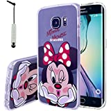VCOMP Cubierta de silicona TPU Transparente Ultra Fina Dibujo animados bonito para Samsung Galaxy S6 edge SM-G925/ S6 edge (CDMA)/ G925F - Minnie Mouse + mini lápiz óptico