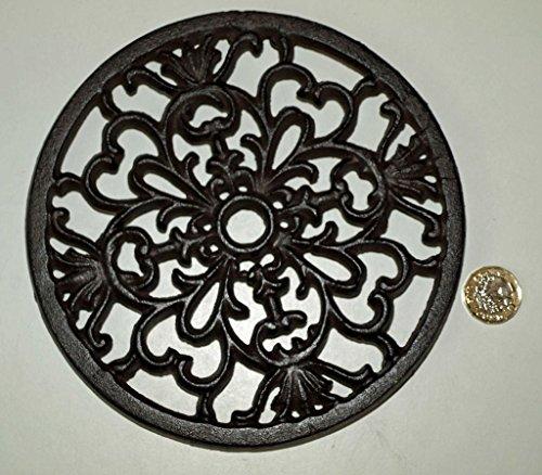 Salvamanteles de hierro fundido rústico con diseño de corazón, 17,5 cm, para ollas y teteras