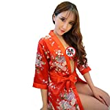 Yinglite Uniformes tentation femme Kimono japonais Geisha Geisha Costume Cheongsam Dress Chinese pyjamas infirmière hôtesse de l'air Uniforme sexy Masquerade Vêtements d'Halloween (2041-Kimono-Red)