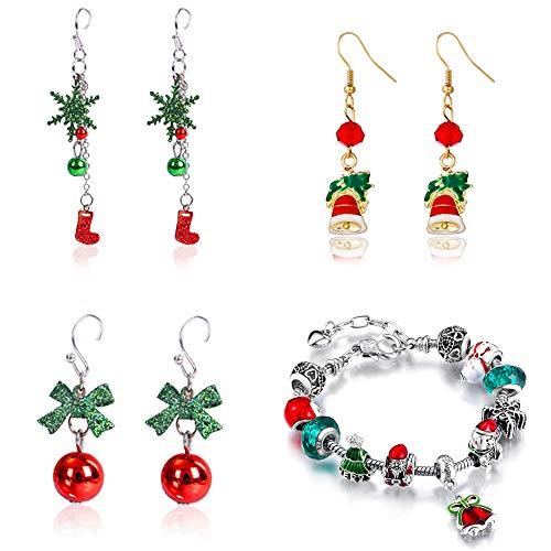 (Kit 4pcs) 3 paia Orecchini di Natale Donna+1 Bracciali Natalizi Antiallergici Fatto a Mano Regalo Gadget Natale per Donna Ragazz