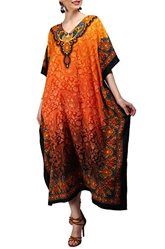 Kaftan Tunika Kimono Kleid Nachtwäsche Nachtwäsche Nachthemd Damen Sommerabend Lang Maxi Party Plus Größe 10 12 14 16 18 20 22 24 26 28 - Orange, 46-50 (Kimono-kleid Plus Größe)