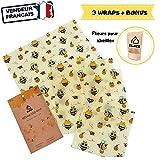ELACE Bee Wrap Film Alimentaire lavable réutilisable en coton bio et cire d'abeille - Lot de 3 (S, M, L) - Couvre plat tissu et Emballage Alimentaire Ecologique, Zero déchet