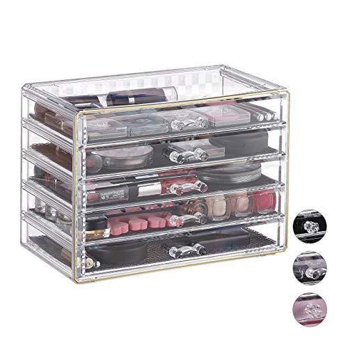 Relaxdays Organizador de Maquillaje, Cinco cajones, Caja para cosméticos, Fundas Protectoras, Transparente-Oro, Fibra acrílica, 17 x 23,5 x 13,5 cm
