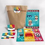 12-er Einladungskarten, Umschläge, Tüten, Aufkleber zum Kindergeburtstag für Mädchen und Jungen Kino-Party / blau (12 Karten + 12 Umschläge + 12 Party-Tüten + 12 Aufkleber (Kreuzbodenbeutel))