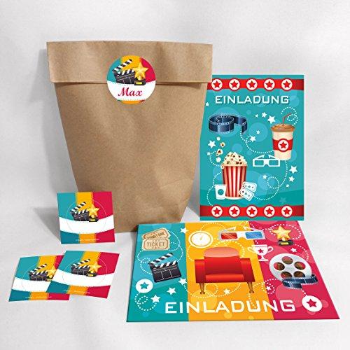 10-er Set Einladungskarten, Umschläge, Tüten, Aufkleber zum Kindergeburtstag für Mädchen und Jungen Kino-Party / blau (10 Karten + 10 Umschläge + 10 Party-Tüten + 10 Aufkleber (Kreuzbodenbeutel))