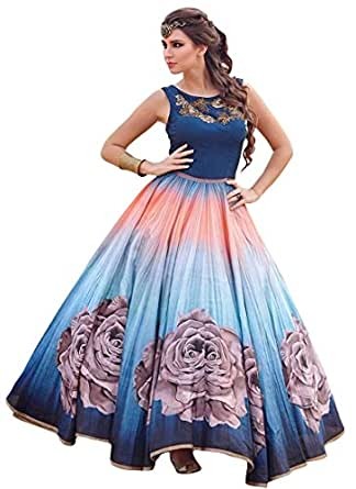 Seller King Blue Benglori Print Anarkali Semi Stiched Dress Material (Dress_167_FreeSize_Blue)