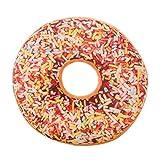 Deloito Weiches Plüschtier Kissen Donut Essen Druck Abnehmbaren Runden Kissenbezug (A, 40 x 40 cm)