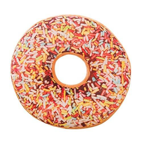 Deloito Weiches Plüschtier Kissen Donut Essen Druck abnehmbaren runden Kissenbezug (A, 40 x 40 cm) -