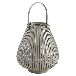 Lanterne à suspendre en bambou laqué gris et verre