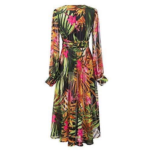 Qissy® Femme Floral Imprimé Robe Mousseline Col V Bohème Manche Longue, Robe de Soirée, Robe de Party Chiffon Bohème Plage Mer Vert foncé