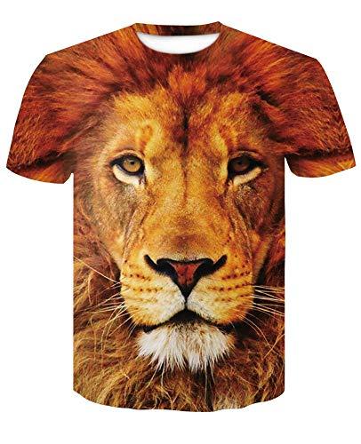 Kostüm Löwen Herren - XIAOBAOZITXU T-Shirts Herren Und Damen Mode Und Größen-Sweatshirts Unisex-Kostüme Tiere Gelbe Löwen Slim Fit Coole Lustige Sommer-T-Shirts L