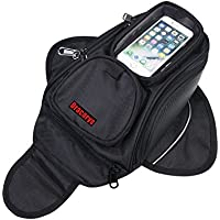 Motorcycle Tank Bag - Waterproof Oxford Saddle Black Motorbike Bag with Bigger Window - Universal Strong Magnetic Bag for Honda Yamaha Suzuki Kawasaki Harley - Dracarys