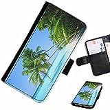 Hairyworm- palmiers Samsung Galaxy S3 Mini (I8190, I8190N) étui en cuir pour téléphone avec rabat, style portefeuille avec emplacements pour les cartes et l'espèce, et fermeture magnétique.