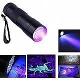 #8: Invisible Ink Marker 9LED UV Ultra Violet 3 AAA Battery Flashlight Torch Light-Black