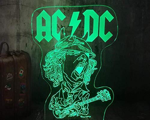 Luz De Noche 3D Led Rock Singer Interruptor Táctil Juguete Para Niños Sala De Estar Dormitorio Decoración De Fiesta Regalo 7 Reemplazo De Color Usb Blanco Crackle Base