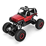 RC Monster Truck 1/18 Telecomandato 4x4 Jeep Fuoristrada 2.4GHz Automobiline radiocomandate in lega Rock Crawler con luci LED Automobiline da collezione per Bambini(Rosso)