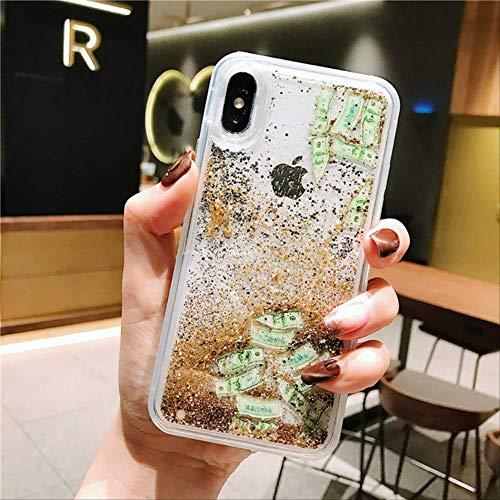Rentlooncn Stilvoller kreativer flüssiger Treibsand-Handykasten des Dollars für iPhone 6 6s 7 8 Plus X XR XS MAX Anti-Fallluxuspersönlichkeit für iphone6   6s A