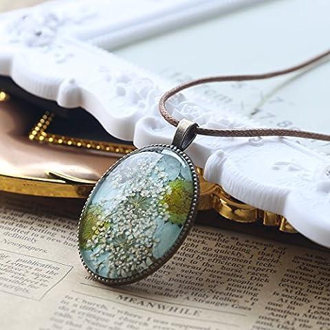 A-szcxtop erhalten Frische Blume Halskette Schöne Anhänger Getrocknete Blumen Oval