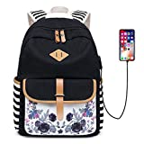 Neuleben Rucksack Schulrucksack mit Blumenmuster USB Port für Damen Mädchen Rucksäcke Daypack Schultasche Rucksack Schwarz